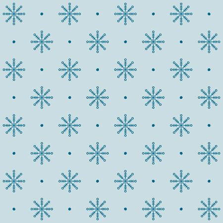 Dotted snowflake pattern. Seamless vector winter background: teal snowflakes and dots on light backdrop Stock Illustratie
