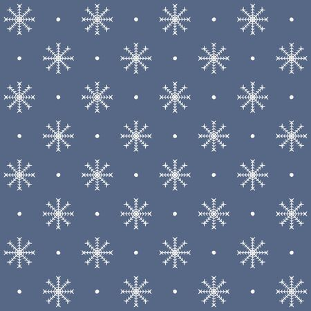 Snowflake pattern. Seamless vector winter background with white snowflakes and dots on blue backdrop