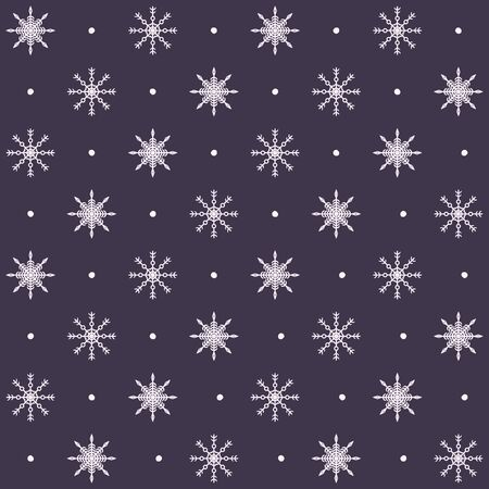 Dotted snowflake pattern. Seamless vector winter background with white snowflakes on violet backdrop