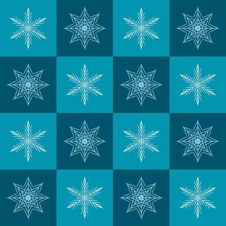 Snowflake pattern. Seamless vector checkered winter background with white snoflakes on green and teal squares