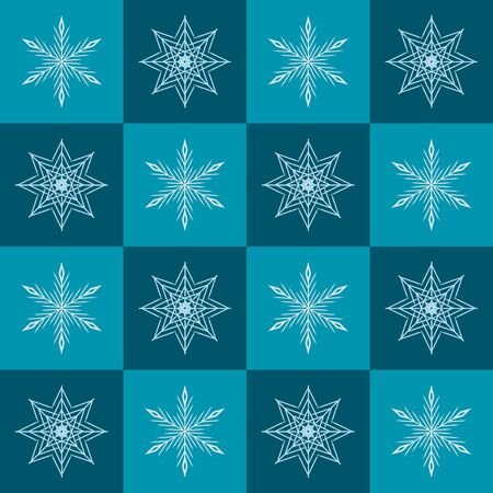 Snowflake pattern. Seamless vector checkered winter background with light snowflakes on green and teal squares 向量圖像