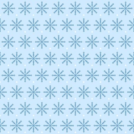 Dotted snowflake pattern. Seamless vector winter background with blue snowflakes and white spots on light blue backdrop Banque d'images - 135495826