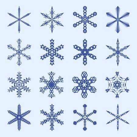 Snowflakes and icicles winter vector set: blue silhouettes on light blue backdrop