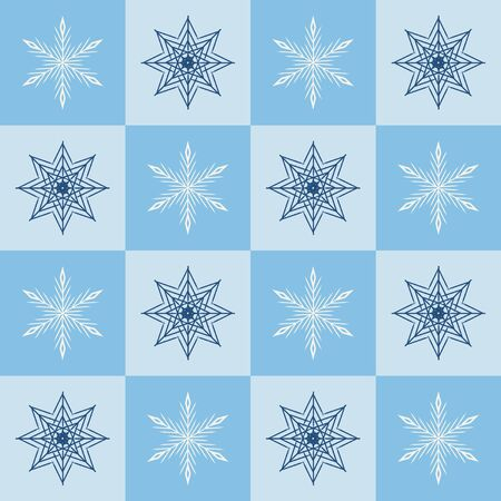 Snowflake pattern. Seamless vector checkered winter background with blue and white snowflakes on blue and light blue squares Иллюстрация