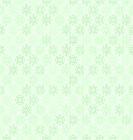 Snowflake pattern. Seamless vector winter background with green snowflakes on light green backdrop