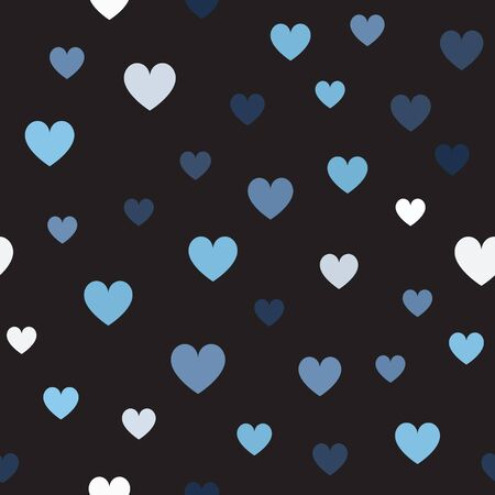 Heart pattern. Seamless vector background - blue, gray and white hearts on black backdrop Иллюстрация
