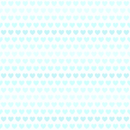 Cyan striped heart pattern. Seamless vector background - dark and light blue hearts on light cyan backdrop