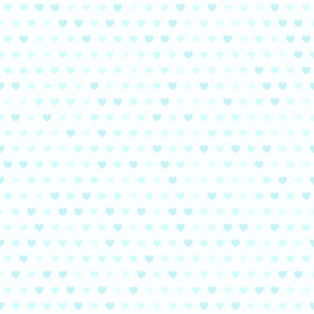 Cyan heart pattern. Seamless vector background - blue hearts of different size on light cyan backdrop Иллюстрация