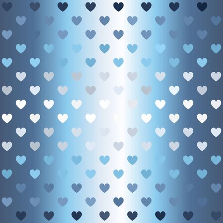 Glowing heart pattern. Seamless vector background - blue, gray and white hearts on gradient backdrop Иллюстрация