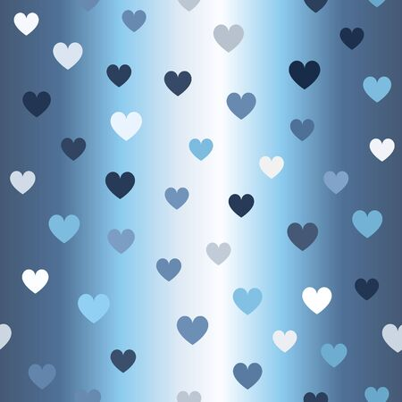 Gradient heart pattern. Seamless vector background - blue, gray and white hearts on glowing backdrop Иллюстрация