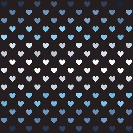 Striped heart pattern. Seamless vector background - blue, gray and white heartson black backdrop