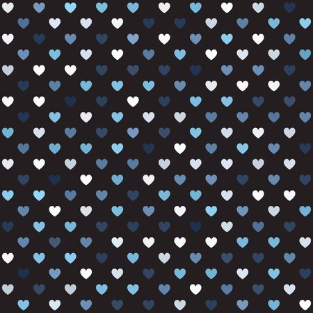 Heart pattern. Seamless vector background - gray, silver and white hearts on black backdrop