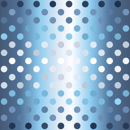 Gradient striped polka dot pattern. Seamless vector background - blue, gray and white circles on glowing backdrop