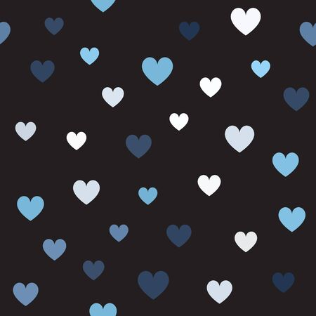 Random heart pattern. Seamless vector background - blue, gray and white hearts on black backdrop
