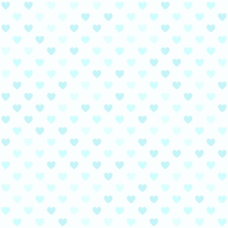 Cyan heart pattern. Seamless vector background - blue hearts on light cyan backdrop
