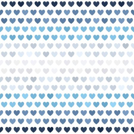 Striped heart pattern. Seamless vector background - blue, gray and white hearts on white backdrop