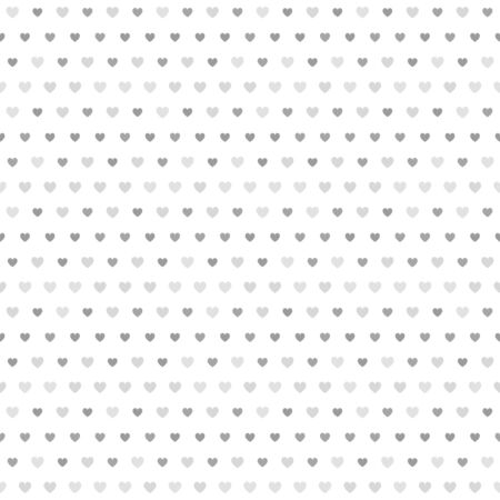 Grey striped heart pattern. Seamless vector background - dark and light gray hearts on white backdrop