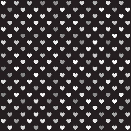 Heart pattern. Seamless vector background - gray hearts on black backdrop