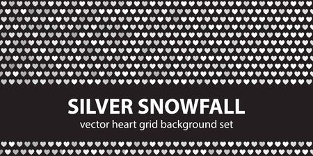Heart pattern set Silver Snowfall. Vector seamless backgrounds - gray, silver and white hearts on black backdrops Иллюстрация