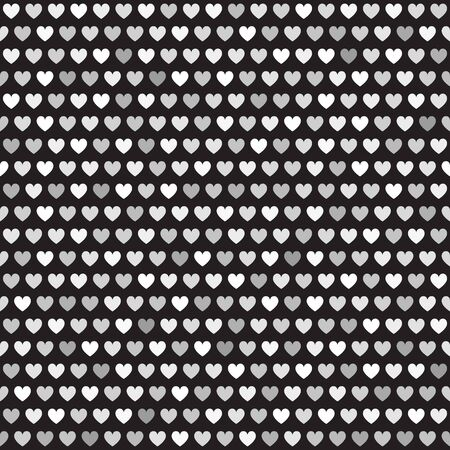 Grey heart pattern. Seamless vector background - gray, silver and white hearts on black backdrop Иллюстрация