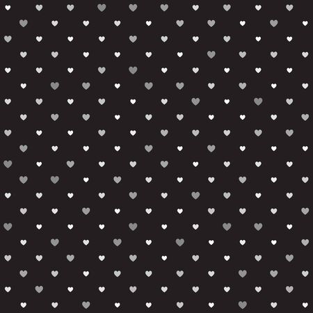 Heart pattern. Seamless vector background - gray hearts of different size on black backdrop