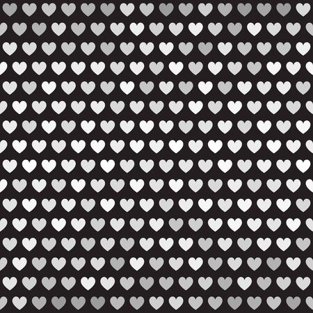 Striped heart pattern. Seamless vector background - gray, silver and white hearts on black backdrop