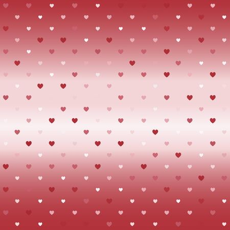 Glowing heart pattern. Seamless vector background - red, rose and pink hearts of different size on gradient backdrop