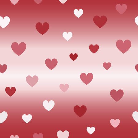 Glossy heart pattern. Seamless vector background - red, rose and pink hearts on glowing backdrop