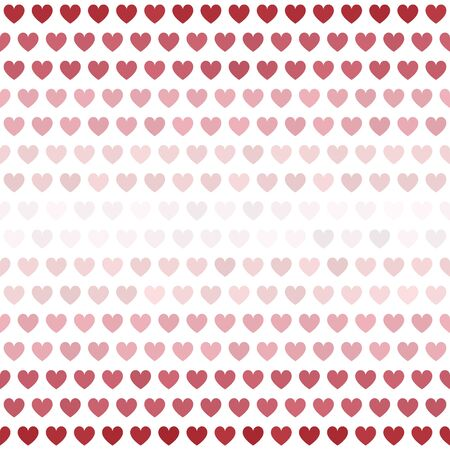 Striped heart pattern. Seamless vector background - red, rose and pink hearts on white backdrop Иллюстрация