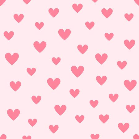 Heart background. Seamless vector pattern - red hearts on pink backdrop