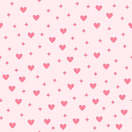 Heart pattern with diamonds. Seamless vector background - red diamonds and hearts on pink backdrop