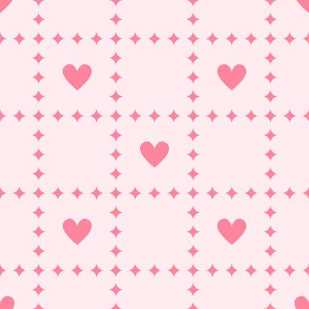 Heart background with diamonds. Seamless vector pattern - rose diamonds and hearts on pink backdrop