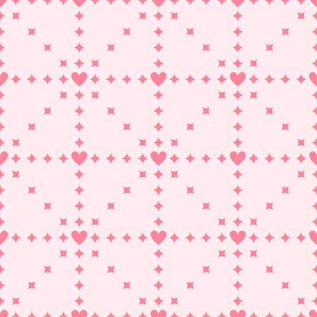 Heart pattern with diamonds. Seamless vector background - rose diamonds and hearts on pink backdrop