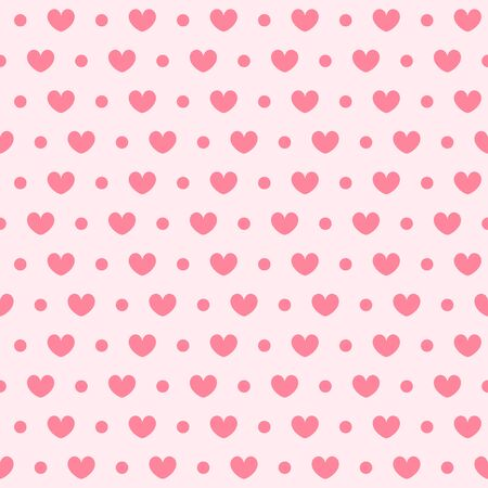 Heart pattern with dots. Seamless vector background - red hearts and dots on pink backdrop