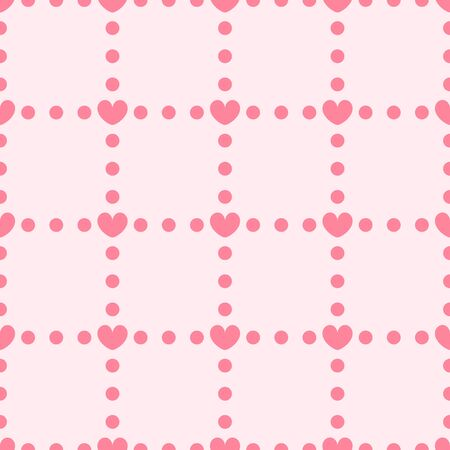Heart background with dots. Seamless vector pattern - red hearts and dots on pink backdrop Иллюстрация