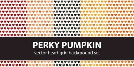 Heart pattern set Perky Pumpkin. Vector seamless backgrounds - red, peach, black, orange, pumpkin hearts on white backdrops Иллюстрация