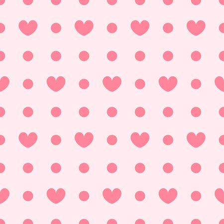 Polka dot pattern with hearts. Seamless vector background - rose hearts and dots on pink backdrop Иллюстрация