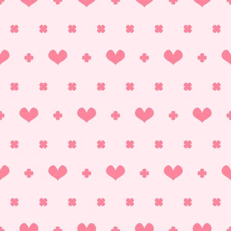 Heart pattern with leaves. Seamless vector background - rose hearts and leaves on pink backdrop Иллюстрация