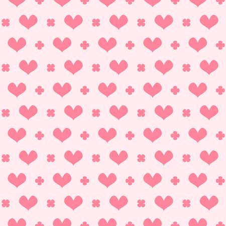 Striped heart pattern with leaves. Seamless vector background - rose hearts and leaves on pink backdrop