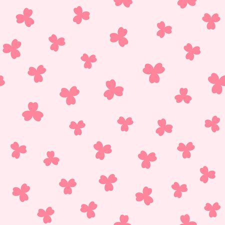 Pink shamrock pattern. Seamless vector background - red trefoils on rose backdrop