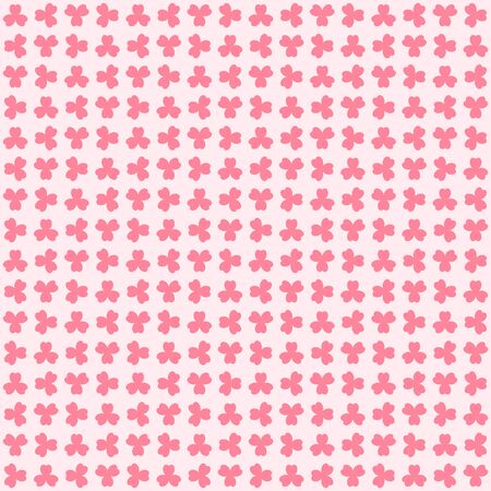 Rose shamrock pattern. Seamless vector background - red trefoils on pink backdrop