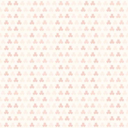 Rose striped trefoil pattern. Seamless shamrock background - red leaves on pink backdrop