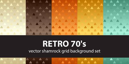 Shamrock pattern set Retro 70s. Vector seamless backgrounds - beige, brown, orange, yellow, green trefoils on gradient backdrops 向量圖像
