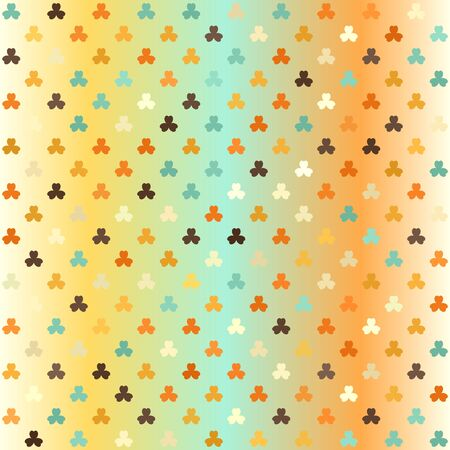Glowing shamrock pattern. Seamless vector background - beige, brown, orange, yellow, green leaves on gradient backdrop