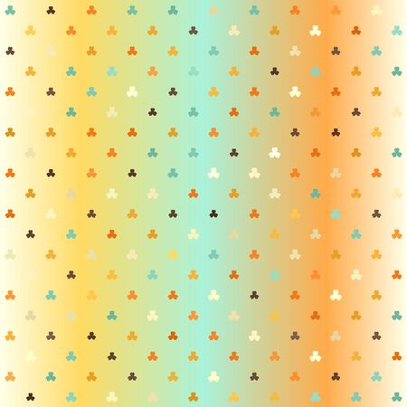 Retro trefoil pattern. Seamless vector background - beige, brown, orange, yellow, green sorrels of different size on gradient backdrop