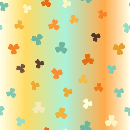 Shamrock glowing background. Seamless vector pattern - beige, brown, orange, yellow, green trefoils on gradient backdrop