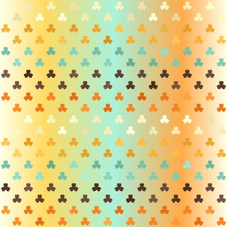 Striped shamrock pattern. Seamless vector background - beige, brown, orange, yellow, green trefoils on glowing backdrop