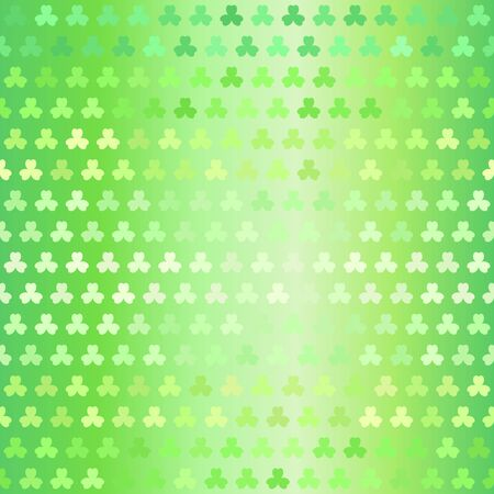 Glowing trefoil pattern. Seamless vector background - green sorrel leaves on gradient backdrop 向量圖像