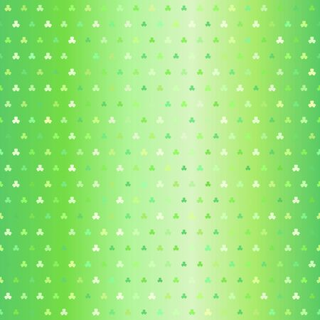Green trefoil pattern. Seamless vector background - shamrocks of different size on glowing backdrop 向量圖像