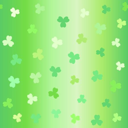 Gradient clover pattern. Seamless vector background - green shamrocks on glowing backdrop Ilustracja